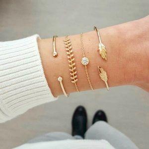 """Delilah"" Diamond Leaf Layered Cute Boho Bracelets"